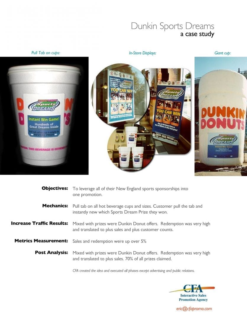 Sweepstakes management for Dunkin Donuts