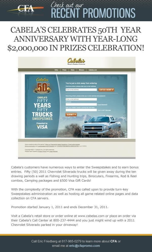 Cabela's 50th Anniversary campaign, managed by CFA